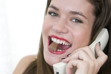 Free Beautiful Businees Woman Or Secretary Eating Sweet Royalty Free Stock Images - 8065019