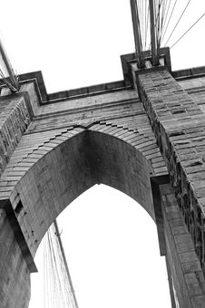 Free Brooklyn Bridge Close Up In Black And White Stock Photography - 8065112