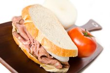 Roast Beef Sandwich On Cutting Board Stock Images