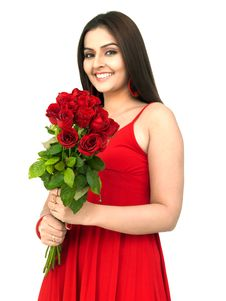 Free Beautiful Woman With Red Roses Royalty Free Stock Image - 8067266