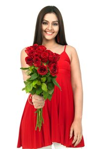 Free Woman With Red Rose Bouquet Stock Image - 8067271