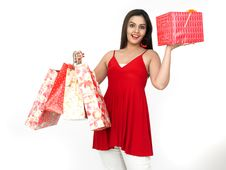 Free Young Woman With Shopping Bags And Gift Royalty Free Stock Photo - 8067345