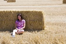 Free Young Woman In Haystack Royalty Free Stock Photos - 8068018