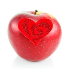 Free Red Apple And Red Heart Made Of Cloth Royalty Free Stock Images - 8068049