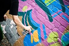 Graffiti Artist At Work Stock Images