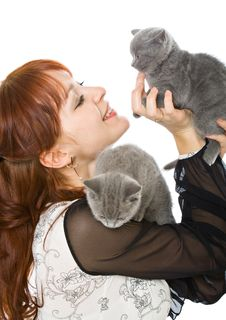 Free The Young Girl And Two Kittens Royalty Free Stock Photography - 8068847