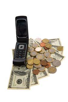 Free Phone With Money On White. See Portfolio For Simil Royalty Free Stock Photos - 8068928
