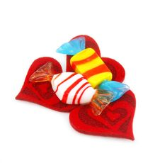 Three Red Hearts Made Of Cloth And Sweets Royalty Free Stock Photo