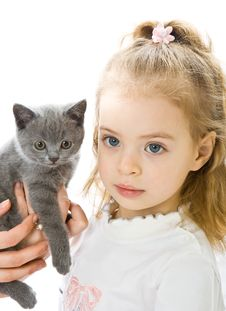 Free Young Girl With Kitten Stock Image - 8068991