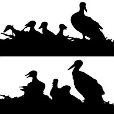 Free Stork Nest Silhouette. Royalty Free Stock Image - 8069096