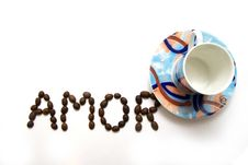 Free Inscription Amor And A Cup Stock Images - 8070894