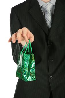 Free Businessman With Gift Packet In Hand Royalty Free Stock Photography - 8071517