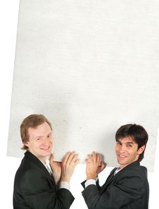 Free Two Businessmen Carry White Plate Royalty Free Stock Images - 8071669