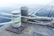 Bitts And Mooring Lines Royalty Free Stock Photo