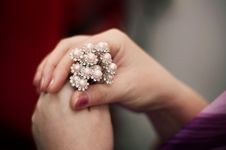 Free Some Hairpins With Pearls In A Female Hand Stock Photo - 8073820