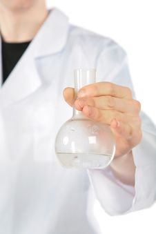 Free Chemist Holds Flask Royalty Free Stock Image - 8073956