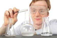 Free Chemist And Three Flasks Royalty Free Stock Image - 8073976