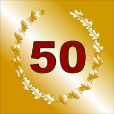 Gold 50th Anniversary Card Royalty Free Stock Images