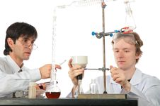 Free Two Chemists With Chemical Equipment Royalty Free Stock Photos - 8074098