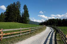 Alpine Countryside Road Among Meadows Stock Photos