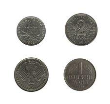 Free Four European Coins Off Course Royalty Free Stock Photos - 8074338