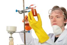 Free Chemist Fixes Flask On Support Royalty Free Stock Images - 8074529