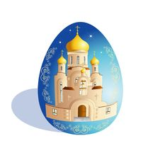 Free Easter Egg With Church Royalty Free Stock Photo - 8074545