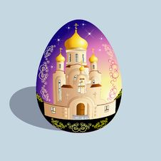 Free Easter Egg With Church Royalty Free Stock Images - 8074719