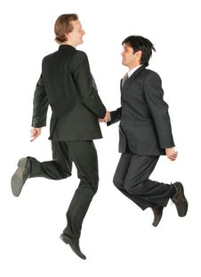 Free Two Businessmen Jump Royalty Free Stock Photos - 8074968