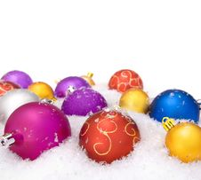 Free Christmas Balls With Snow Stock Images - 8075554
