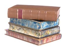 Pile Of Old Leather Bound Books Stock Image