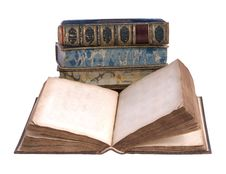 Free Pile Of Old Leather Bound Books Stock Photo - 8076290
