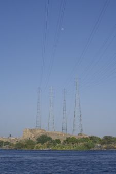 Free Power Line Over Nile River Stock Photography - 8076312