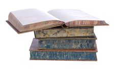 Pile Of Old Leather Bound Books Royalty Free Stock Photography
