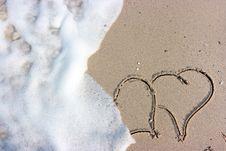 Free Hearts On Beach Royalty Free Stock Image - 8076606