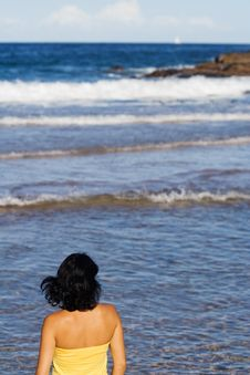 Free Woman Looking At Ocean Stock Image - 8077471
