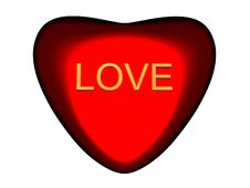 Free Beautiful Red Heart With Word LOVE. Stock Photography - 8077832