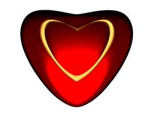Free Volumetric Red Heart With Gold Heart Inside. Royalty Free Stock Images - 8077839
