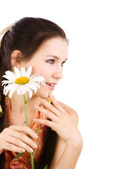 Girl With Chamomile Royalty Free Stock Image