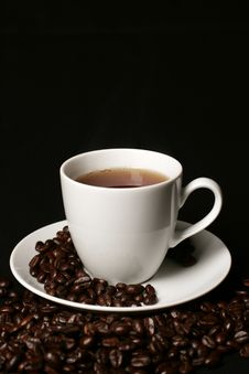 Free Coffee Cup  On Black Royalty Free Stock Photos - 8078448