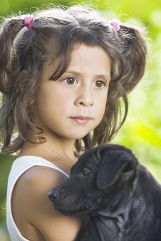 Free Girl With Dog Royalty Free Stock Photography - 8079017