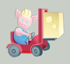 Pink Piggy At Work Royalty Free Stock Image