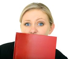 Free Stressed Caucasian Female Holding Blank Book Royalty Free Stock Image - 8079276