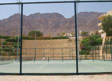 Tennis Courts On Territory Of Hotel Stock Photos