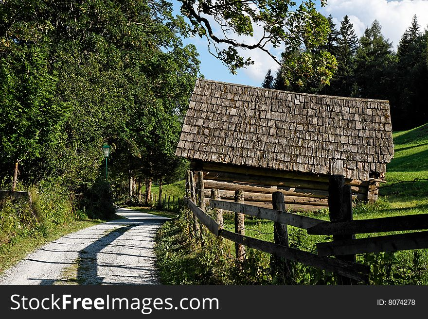 Hay shed in alpine forest