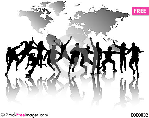 Free People In Action And Map Stock Photography - 8080832