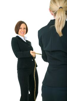 Two Female Businesswoman Compete Royalty Free Stock Photos