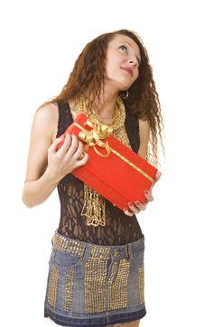 Free Woman Has Got A Gift Box Royalty Free Stock Photo - 8081295