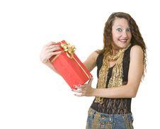 Free Woman Has Got A Gift Box Royalty Free Stock Photo - 8081305