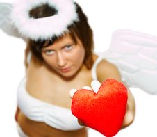 Free Young Woman At Angel S Costume With Red Heart Stock Images - 8081334